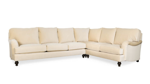 English Arm Pillow Back Square L Fabric Sectional 129 x 96 Como Cream by COCOCO Cream