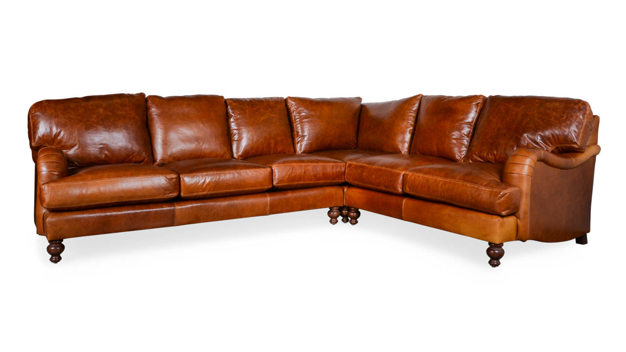 English Arm Pillowback Square L Leather Sectional 120 x 96 x 42 Mont Blanc Caramel by COCOCO Home