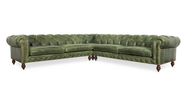 Soho Chesterfield Square Corner Leather Sectional Cambridge Winter Pine by COCOCO Home