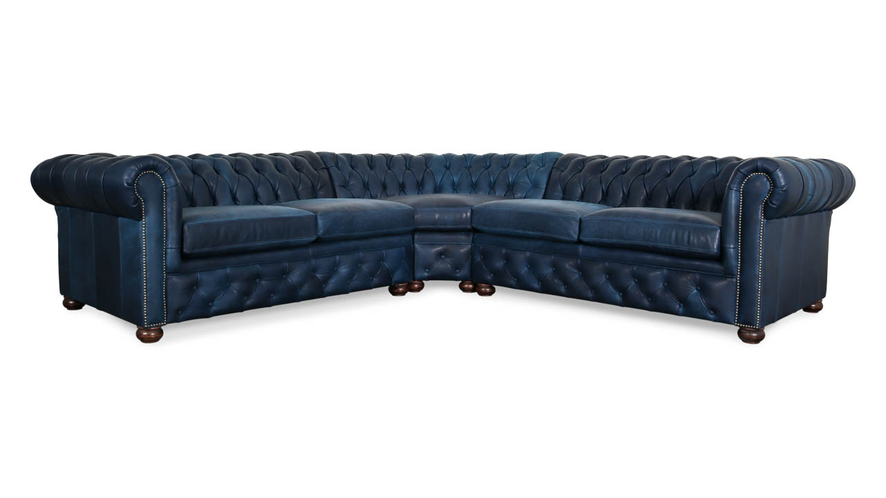 Traditional Chesterfield Radius Corner Leather Sectional 117 x 117 x 42 Brentwood Navy Milled