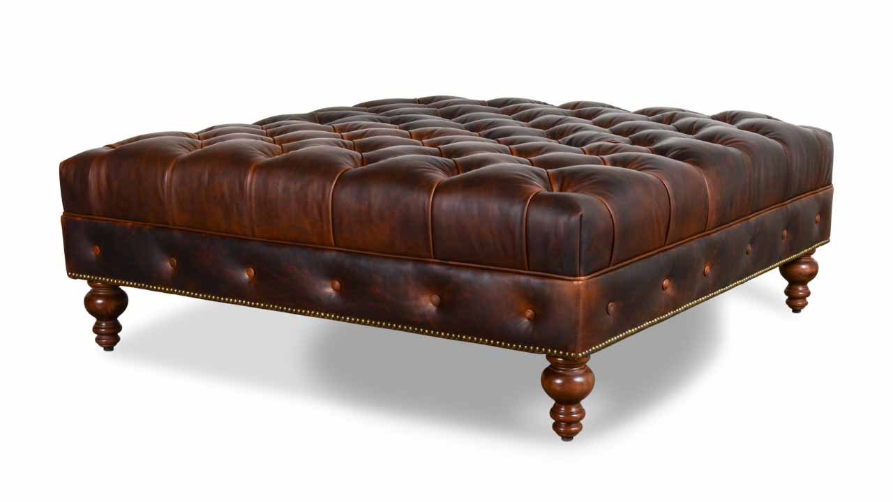 Chesterfield Square Leather Ottoman 48 x 48 Saratoga Bridle