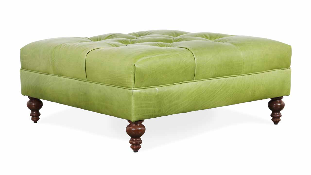 Soho Chesterfield Square Leather Ottoman 42 x 42 Echo Autumn Leaf
