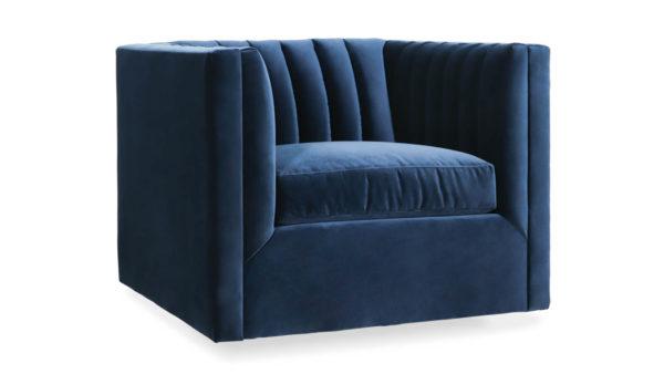Clark Fabric Swivel Chair 37 x 35 Como Indigo by COCOCO Home