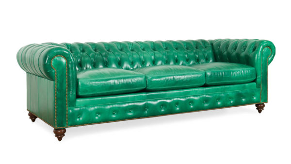 Classic Chesterfield Leather Sleeper Sofa 96 x 42 Mont Blanc Emerald by COCOCO Home