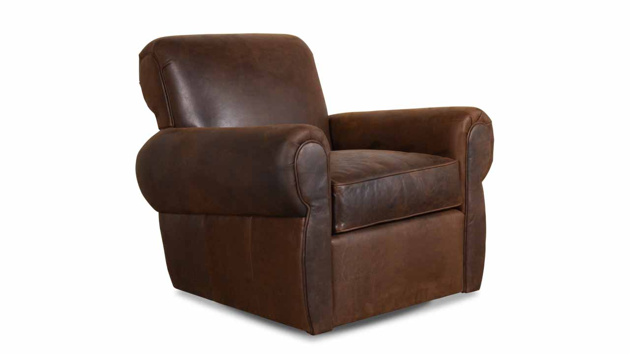 burnham Molasses, Moore and Giles, Cococo Home, Brown Leather Chair, Traditional Leather Chair, Clun Chair, Leather Swivel Chair