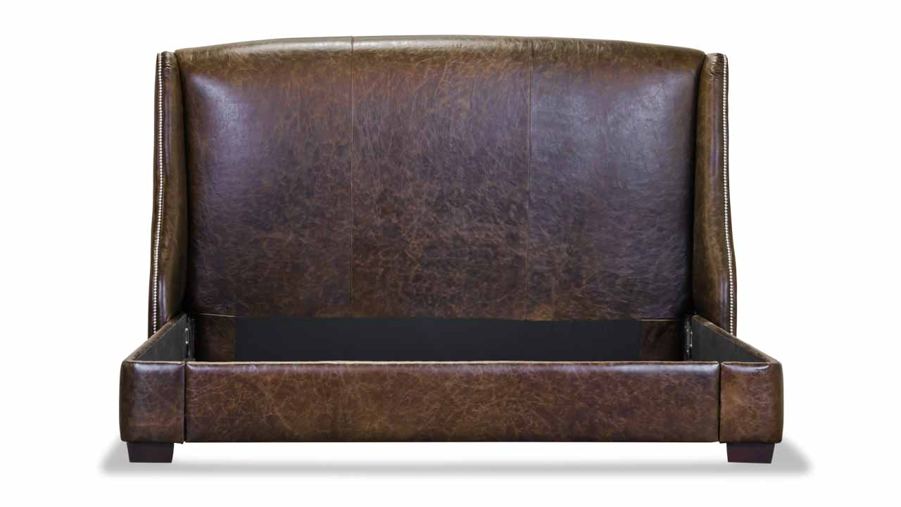 Morrison Untufted Leather Bed in Brown