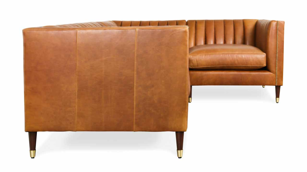Clark Square L Leather Sectional 100 x 70 x 38 Berkshire Chestnut