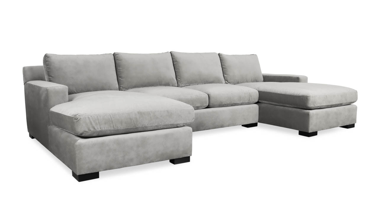 Durham Double Chaise Fabric Sectional 135 x 42 x 72 Como Grey Cloud by COCOCO Home