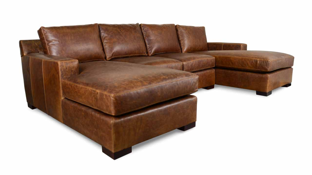 Durham Double Chaise Leather Sectional in Brown