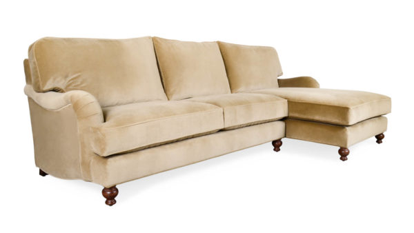English Arm Pillow Back Single Chaise Fabric Sectional Como Cement by COCOCO Home