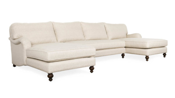 English Arm Pillowback Double Chaise Fabric Sectional 144 x 42 x 68 Chartres Malt by COCOCO Home