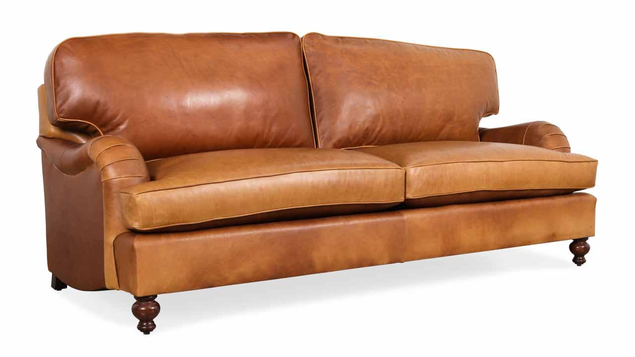English Arm Pillowback Leather Sleeper Sofa 88 x 42 Berkshire Chestnut