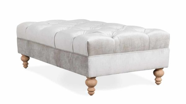 Soho Chesterfield Rectangle Fabric Ottoman 54 x 30 Milan Shadow by COCOCO Home