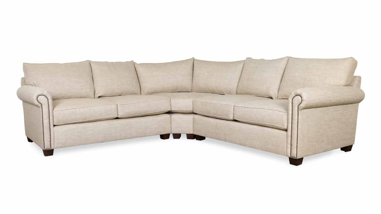 Studio Lexington Radius Corner Fabric Sectional 108 x 108 x 40 Stain Protected Linen