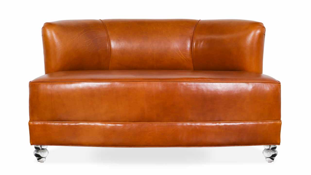 Spin Leather Settee 48 x 31 Echo Cognac