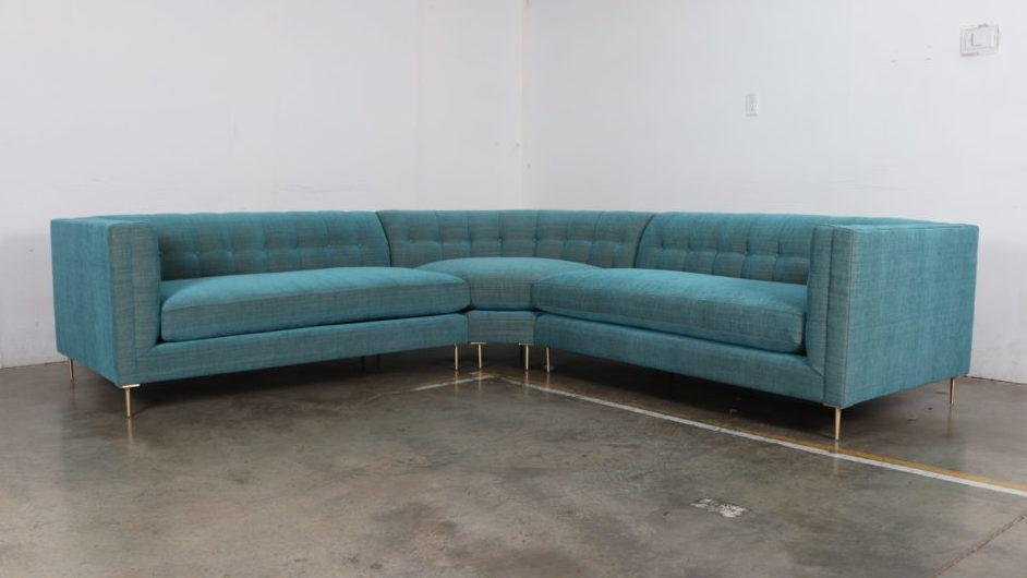 De Leo, Cococo Home, Vermillion Turquoise, Brass Legs, Modern Sectional, Radius Corner, Arden