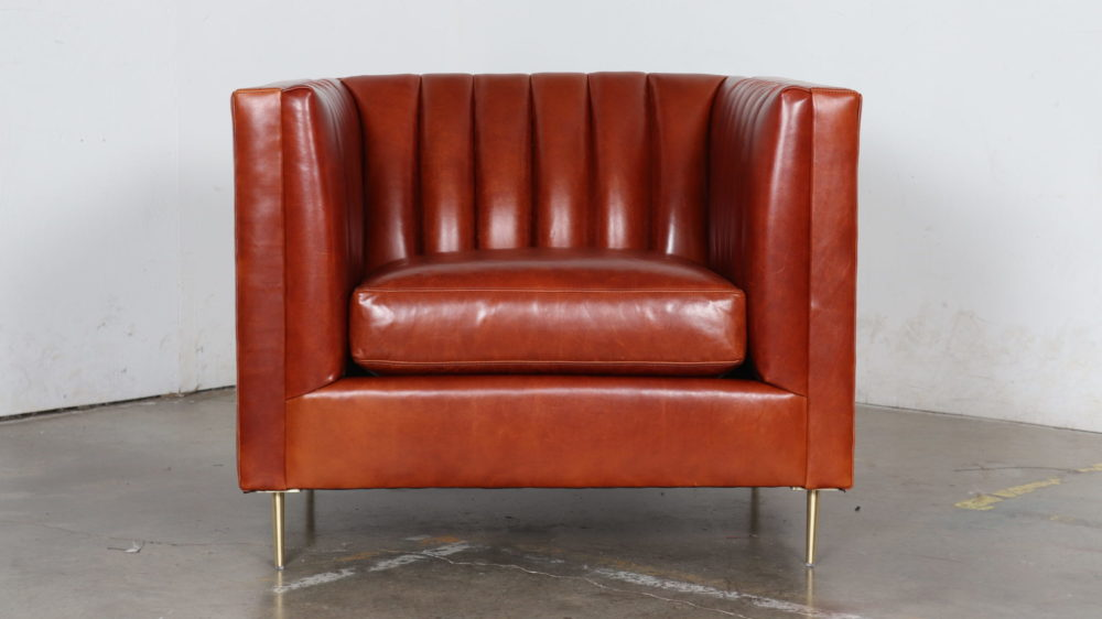 Moore and Giles, Cococo Home, Echo Cognac, Leather Chair, Modern Leather Chair, Brass Legs, Tufted Chair