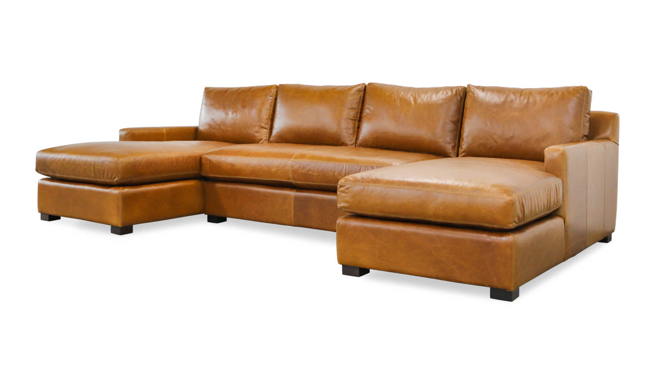 Brevard Double Chaise Leather Sectional 129 x 42 x 68 Mont Blanc Caramel
