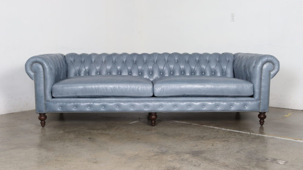 Classic Chesterfield Sofa, Mont Blanc Adriatic, Leather, Blue
