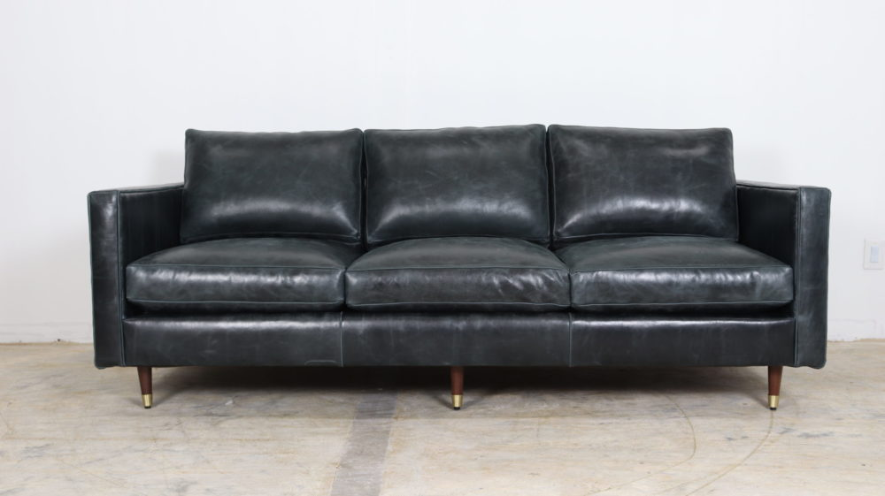Cococo Home, Moore and Giles, Cambridge Blue Smoke, Mid Century Modern, Modern Leather Sofa, Blue Leather