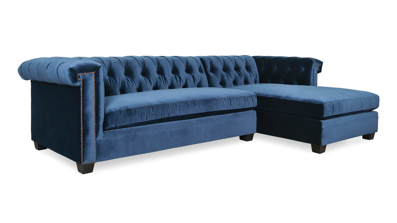 Lennox Chesterfield Single Chaise Fabric Sectional 110 x 42 x 68 Como Indigo