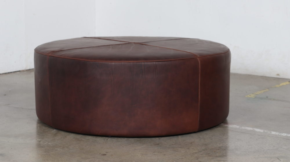 Moore and Giles, Cococo Home, Ellis Chocolate, Drum Ottoman, Leather, 42 inch round, brown ottoman