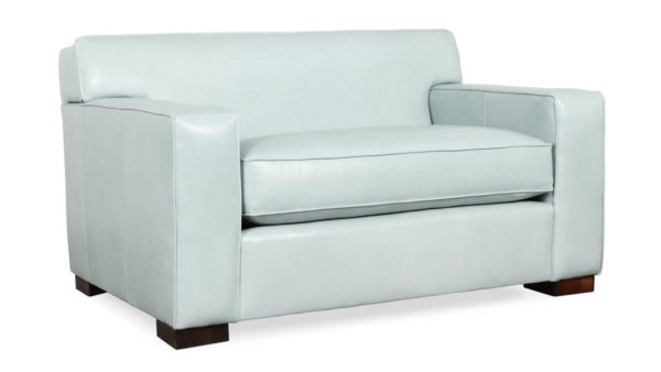 Boone Leather Loveseat 54 x 38 Mont Blanc Frost by COCOCO Home