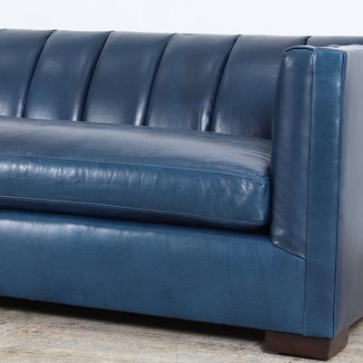 Vale Leather Sofa 93 x 38 Echo Blue Marlin 3000 walnut Bench Cushion 3
