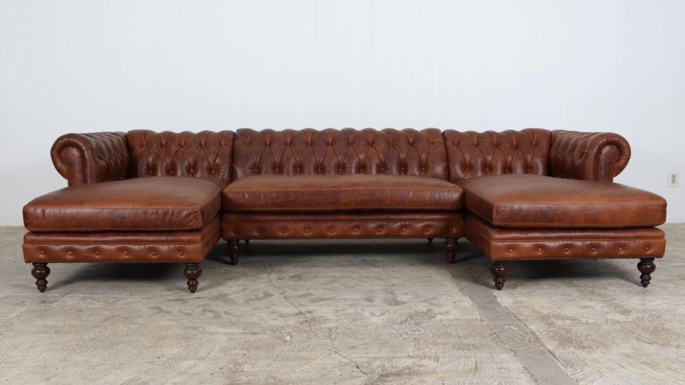 Double Chaise Sectional, Leather Sofa, Chesterfield