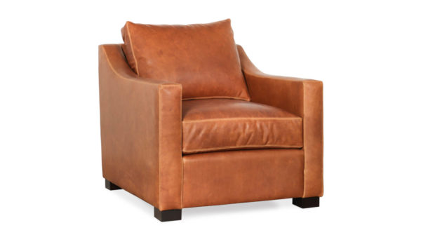 Modern Slope Arm Leather Chair 32 x 38 Eastwood Sahara by COCOCO Home