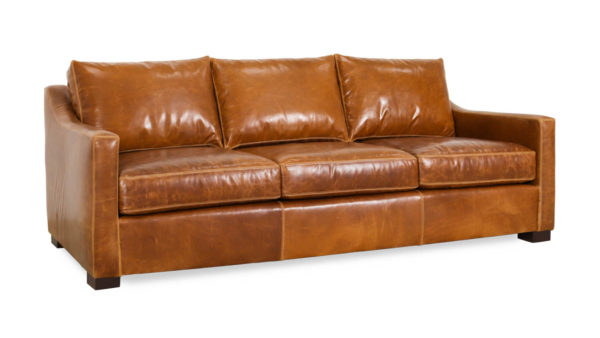 Modern Slope Arm Leather Sofa 89 x 42 Eastwood Sahara by COCOCO Home