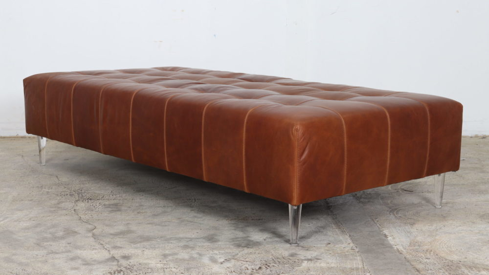 """Modern Art Ottoman by COCOCO Home in Ellis """"Cypress"""" by Moore and Giles"""