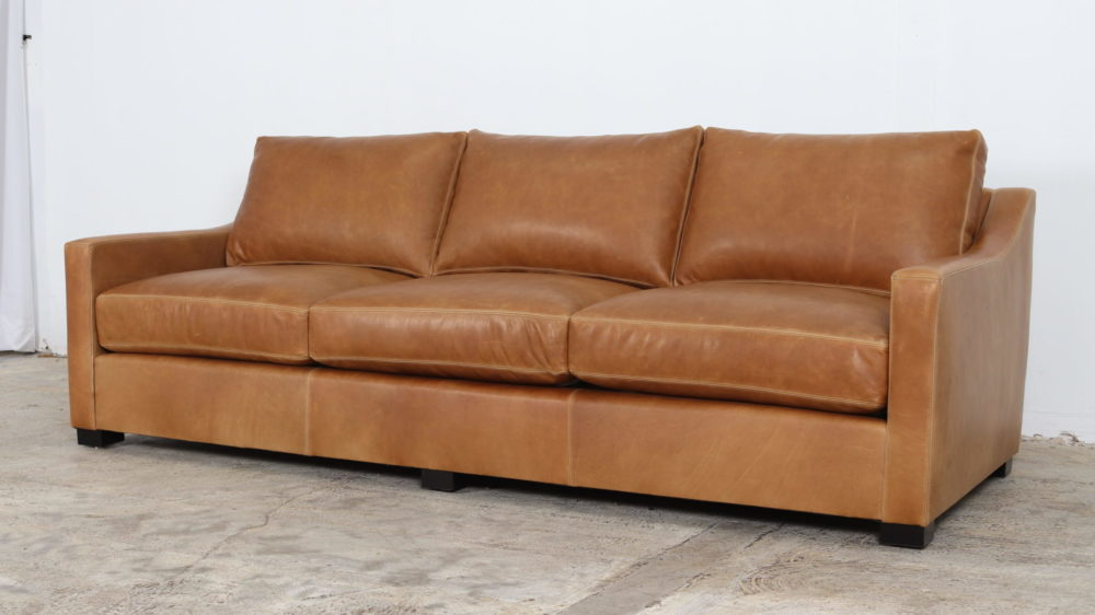 Modern Slope Arm Leather Sofa, Ellis Sahara, by COCOCO Home, Moore and Giles