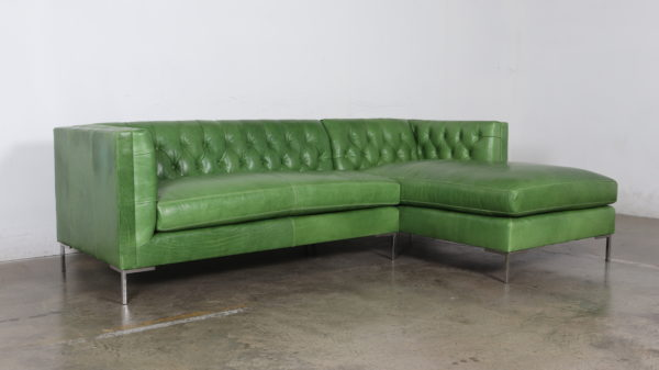 Mont Blanc Kelly, Cococo Home, Belmont, Chaise, Green leather, Moore and Giles