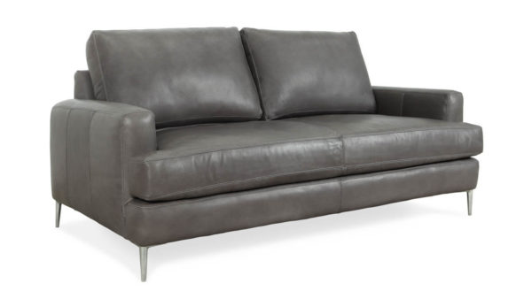 Rigney Leather Loveseat 72 x 40 Harness Charcoal Grey 1 1