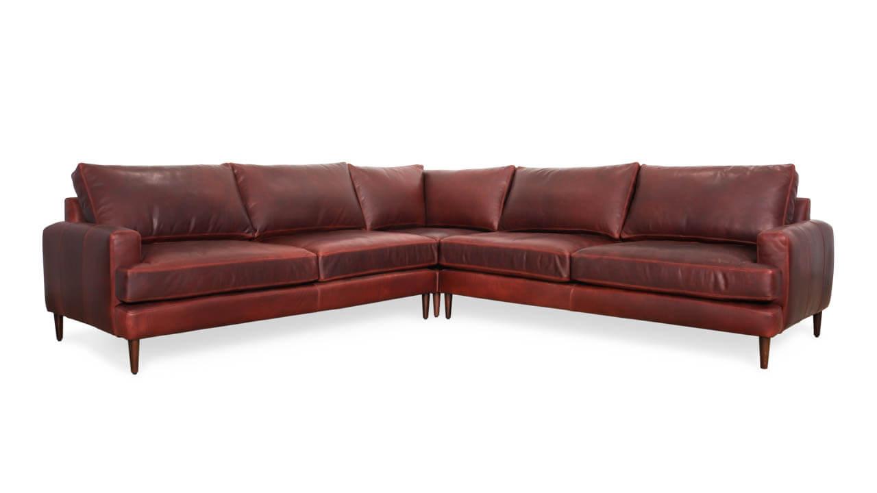 Rigney Square Corner Leather Sectional 118 x 118 x 40 Ellis Oxblood 1 1