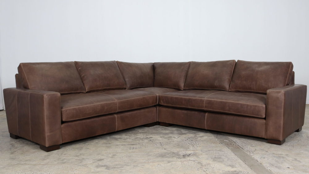 Monroe Sectional, Cococo Home, Moore and Giles, Ellis Gravel, Leather Sectional