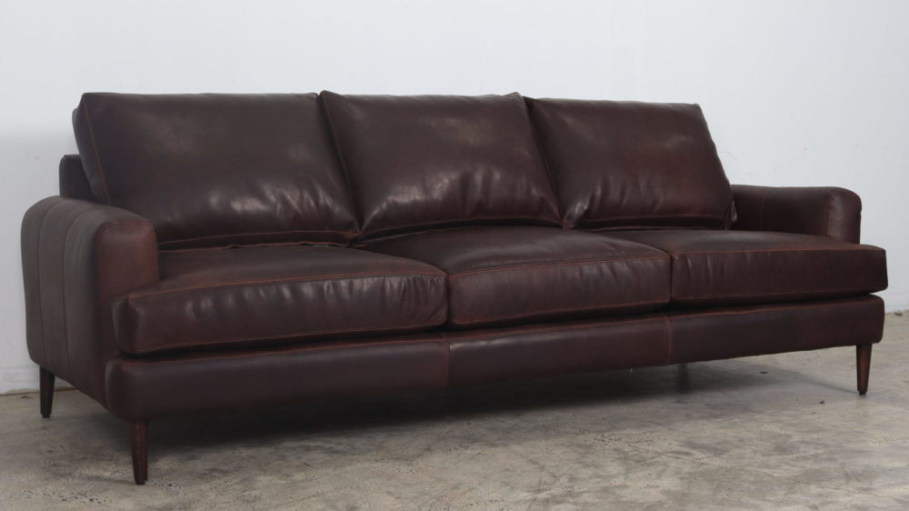 Cococo Home, Rigney Sofa, Dark Brown Leather Sofa, Moore & Giles, Ellis Chocolate, contemporary sofa, mid century modern sofa