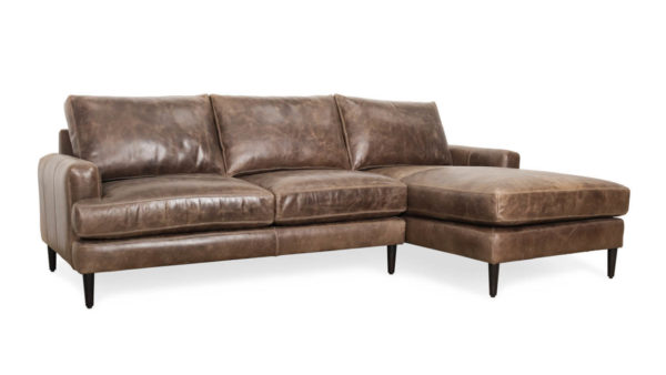 Rigney Single Chaise Leather Sectional 102 x 40 x 66 Cambridge Wolf 1 1